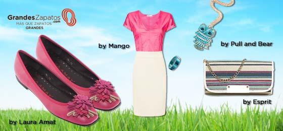 Combinación de Moda en zapatos de tallas grandes de color rosa